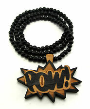 "Wooden POW Pendant Piece 36"" Chain Necklace Good Quality Wood Chris Brown Style"