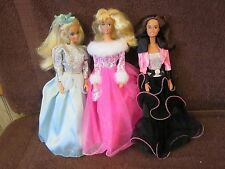 Lot of 3 1966 Barbie Dolls With Long Dresses 2 Blondes 1 Brown Hair