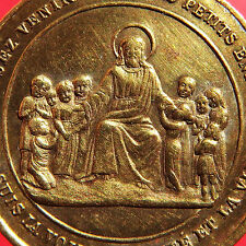 JESUS WITH CHILDRENS MEDAL OLD RELIGIOUS CRECHE DE BETHLEEM FRENCH PENDANT