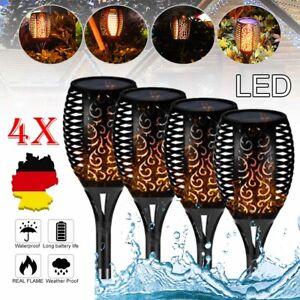 4X LED Solar Garten Steck Fackel Lampen Feuer Effekt Deko Außen Leuchten Set DE