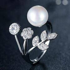 Wedding Jewelry AAA Zircon Flower Leaves Pearl Open Finger Ring Adjustable