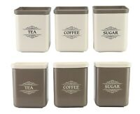 3 Piece Tea Coffee Sugar Canister Set 1300ml Large Plastic Square Storage Tin