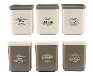 3 Piece Tea Coffee Sugar Canister Set 1300ml Large Plastic Square Storage Tin