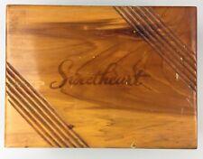 Vintage SWEETHEART FAYETTEVILLE ARKANSAS Handcrafted Cedar Trinket Jewelry Box