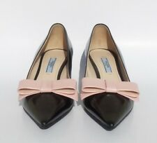 PRADA Black Polished Leather Rose Pink Bow Pointed Toe Mid Kitten Heel Pumps 36