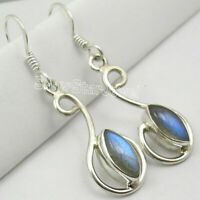 Shape MARQUISE Blue LABRADORITE 5 x 10 mm ! 925 Sterling Silver Earrings 1.6""