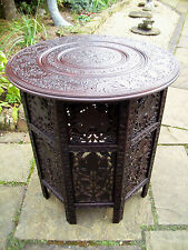 LARGE  ANTIQUE OCTAGONAL FOLDING  ROSEWOOD  ANGLO/ INDIAN   SIDE TABLE