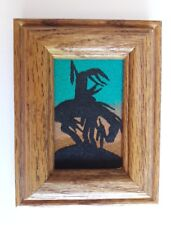 F Yazzie Southwestern Sand Art Wood Framed - Approx. 4 3/4 in. x 3 1/2 inches