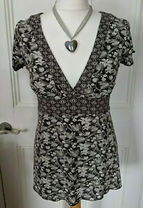 WHITE STUFF stretch tunic top Size 12 brown & cream floral cap sleeves