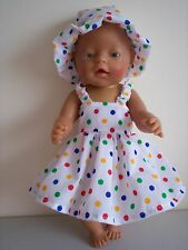 BABY BORN DOLLS CLOTHES WHITE WITH COLOURED DOTS SUMMER OUTFIT