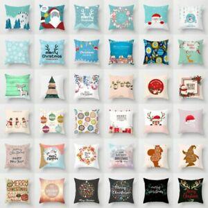 "18"" Merry Christmas Wreath Polyester Home Decor Throw Pillow Case Cushion Cover"