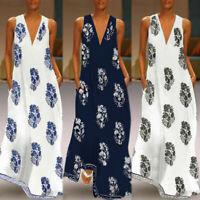Large size women retro print casual V-neck sleeveless bohemian beach dress dress