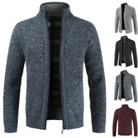 Cardigan Men Knitted Full Sleeve Mandarin Collar Slim Sweater Coat Winter Jacket