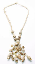 CHUNKY HIPPY RETRO TRIBAL INSPIRED BEIGE NECKLACE WITH WOODEN TASSELS(ZX30)