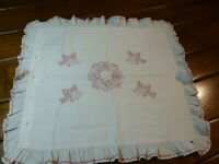 Antique Redwork Embroidered Pillow Sham Red Embroidery  Birds