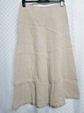 Ladies HOBBS A-Line Maxi Skirt Size 14 Beige Linen Long Zipper Office Work Wear
