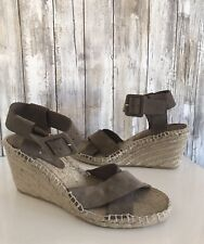 VINCE Gray Taupe Suede Stefania Espadrille Wedge Sandal Heels Ankle Strap 9 *