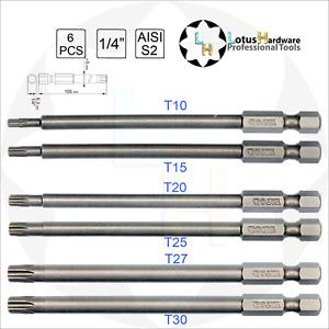 "Bit Set Long Torx 1/4"" Tamperproof S2 Steel T10/T15/T25/T20/T27/T30 x100mm Yato"