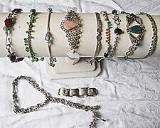 VINTAGE WHITE METAL 5 BRACELET 5 ANKLE & 1 ANKLE WITH RING UNUSUAL COLLECTION 11