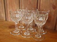 VINTAGE SET OF 6 PRETTY CUT CRYSTAL LIQUEUR PORT GLASSES THOMAS WEBB NORMANDY