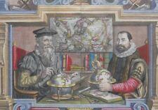Portrait of Mercator & Hondius, L' Atlas ou Meditations Cosmographiques 1613-16.