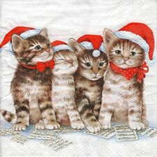4x PAPER NAPKINS for Decoupage CHRISTMAS SINGING CATS