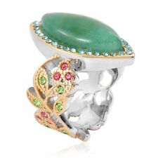 GREEN AVENTURINE MARQUISE AUSTRIAN CRYSTAL 18K BONDED SOLITAIRE ACCENT RING 6
