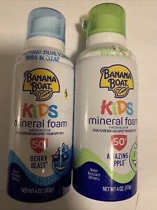 2 Banana Boat Kids Mineral Foam Sunscreen Amazing Apple Scent Berry Blast SPF 50