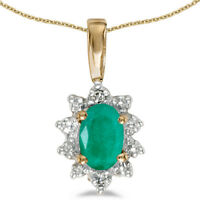 "10k Yellow Gold Oval Emerald And Diamond Pendant with 18"" Chain"