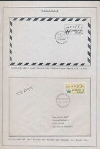 XC67640 Bolivia 1989 airmail ATM stamps FDC's used