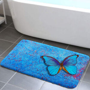 Blue Butterfly Shower Curtain Toilet Cover Rug Mat Contour Rug Set