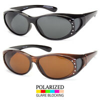 1 or 2 POLARIZED Rhinestone cover put over Sunglasses wear Rx glass fit driving