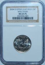 2004 D NGC MS65PL Prooflike Wisconsin WI Quarter Extra Leaf High