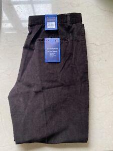 Navy Blu Size 40x30  Mens Classic Fit Flat Front Croft /& Barrow Corduroy Pants
