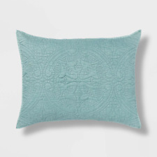 "Opalhouse Stitched Medallion Pillow Sham Dusty Jade 26"" x 20"" Standard Size"