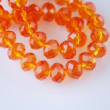 100pcs 6x4mm Rondelle Faceted Crystal Glass Loose Beads Reddish Orange