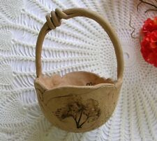 Vintage 1996 Handcrafted Signed Mary Curtain Impressed Stoneware Pottery Basket