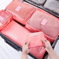 6pcs Travel Clothes Laundry Secret Storage Bags Packing Luggage Organizer Pink