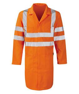 Hi Vis Hi Visibility Rail Spec Long Warehouse Coat - Hi Viz Orange - PCRTWC