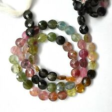 """13"""" Strand Wholesale Natural Multi Tourmaline Faceted Coin Beads 5-6-7 mm CBD-31"""
