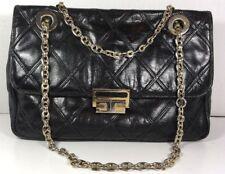Carlotta Black Vintage Leather Shoulder Bag Chain Strap Gold Tone Hardware