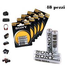 Ministilo Sony 48 Batterie Pile AAA R03 Ultra 12 blister da 4 Mini stilo 1.5 V