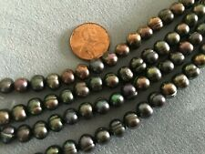 """16"""" Strand 7x8mm Round/Potato PEACOCK FRESHWATER PEARLS Very High Quality"""