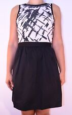 New Warehouse Sequin Dress White Black Holiday Party Colour Block Size 12 AY