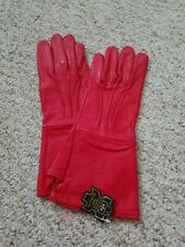 Men's Medieval Red leather Gloves long arm cuff  Size Small