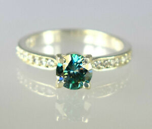 3.39 Ct Green Diamond Solitaire Women's Ring With Accents