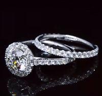2.60 Ct Round Cut Diamond U-Setting Halo Engagement Ring Set G,VS2 GIA Platinum