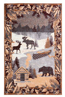 Cabin Wildlife - Multicolor, Lodge Mountain, Deer, Bear Area Rug - 525