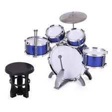 Schlagzeug für Kinder 5 Trommeln Becken Hocker Drumsticks Drum Set Blau A5H0