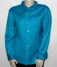 NEW Dialogue Size XL  Linen/Rayon Big Shirt with Chest Pocket OCEAN BLUE